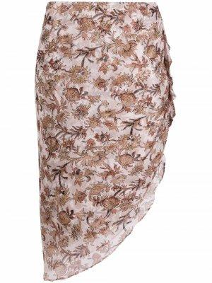 Юбка со сборками и цветочным принтом Veronica Beard. Цвет: нейтральные цвета