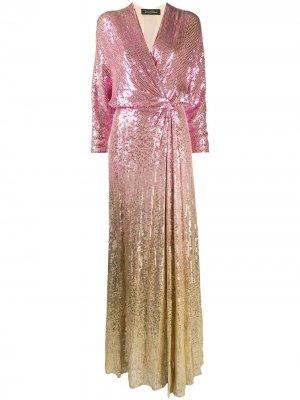 Платье с пайетками и эффектом омбре Jenny Packham. Цвет: розовый