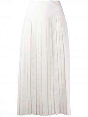 Плиссированная юбка миди The Row. Цвет: белый