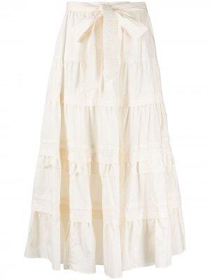 Ярусная юбка миди Sigrid Ulla Johnson. Цвет: нейтральные цвета