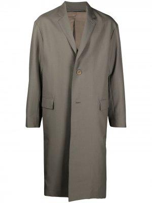 Однобортное пальто Lemaire. Цвет: серый