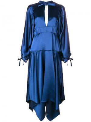 Платье миди асимметричного кроя Self-Portrait. Цвет: синий