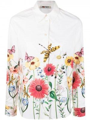 Рубашка с цветочным принтом Ports 1961. Цвет: белый
