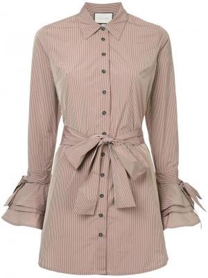 Платье-рубашка с оборками Alexis. Цвет: коричневый