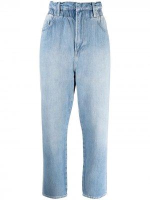 Зауженные джинсы с присборенной талией FRAME. Цвет: синий
