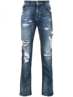 Прямые джинсы с рваными деталями Philipp Plein. Цвет: синий