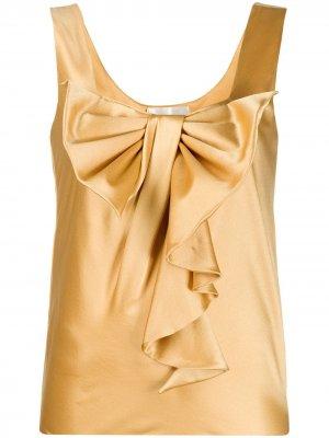Блузка с бантом и оборками Alberta Ferretti. Цвет: золотистый