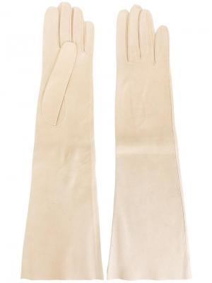 Длинные перчатки Hermès Vintage. Цвет: нейтральные цвета