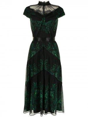 Длинное платье Defne с узором пейсли Tadashi Shoji. Цвет: черный