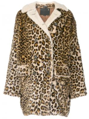 Свободное пальто с леопардовым принтом R13. Цвет: разноцветный