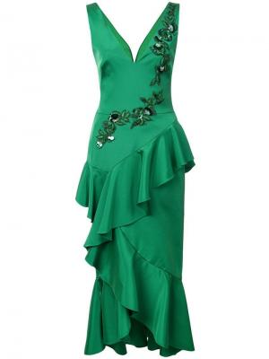 Embroidered midi dress Marchesa Notte. Цвет: зеленый