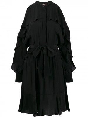 Платье с открытыми плечами TWINSET. Цвет: черный