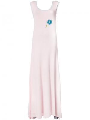 Вязаное пплатье-макси дизайна колор-блок Natasha Zinko. Цвет: розовый
