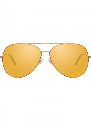 Солнцезащитные очки в оправе авиатор Matthew Williamson. Цвет: золотистый