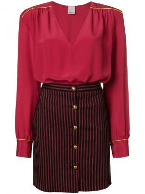 Платье с юбкой в полоску Pinko. Цвет: красный