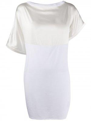 Платье-трапеция асимметричного кроя со вставками Malo. Цвет: белый