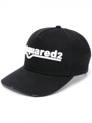 Бейсболка с вышитым логотипом Dsquared2. Цвет: черный
