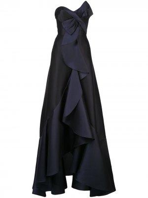 Платье с драпировкой Marchesa Notte. Цвет: черный