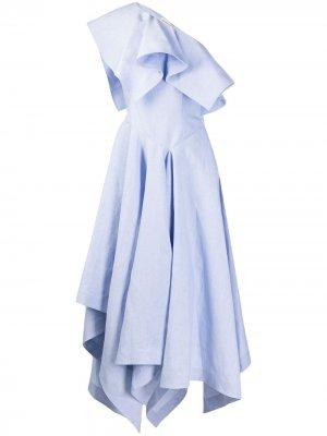 Платье миди асимметричного кроя Alexander McQueen. Цвет: синий