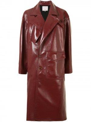 Лакированное пальто-кокон Tibi. Цвет: красный