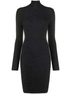 Платье в рубчик с высоким воротником Wolford. Цвет: серый