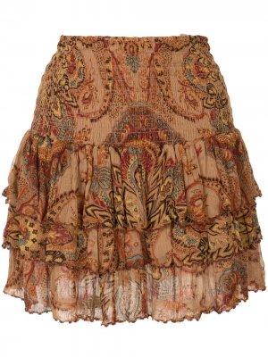 Ярусная юбка Lopez с абстрактным принтом Mes Demoiselles. Цвет: коричневый