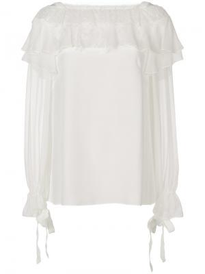 Кружевная блузка с рюшами Alberta Ferretti. Цвет: белый