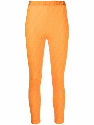 Monogram pattern leggings Fendi. Цвет: оранжевый