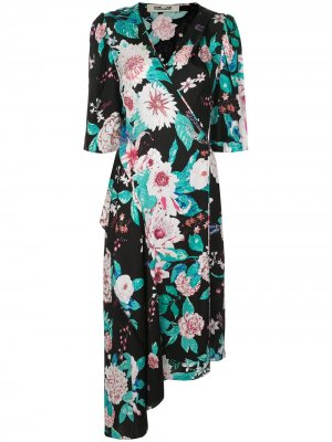 Платье Audrina асимметричного кроя с запахом DVF Diane von Furstenberg. Цвет: черный
