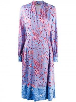 Платье с принтом Jungle Stine Goya. Цвет: синий