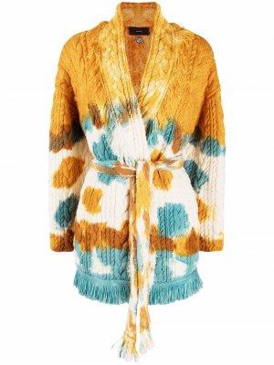 Кардиган-пальто с принтом тай-дай Alanui. Цвет: желтый