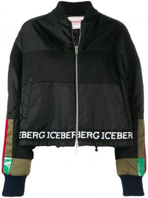 Куртка-бомбер с брендированными вставками Iceberg. Цвет: черный