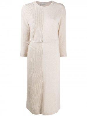 Трикотажное платье со вставками Peserico. Цвет: нейтральные цвета