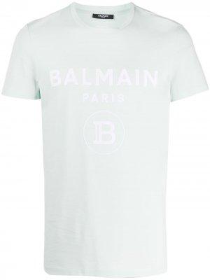 Футболка с логотипом Balmain. Цвет: зеленый