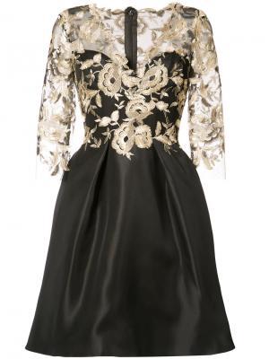 Двухслойное платье с цветочным узором Monique Lhuillier. Цвет: чёрный
