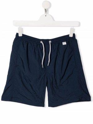 Плавки-шорты с нашивкой-логотипом Mc2 Saint Barth Kids. Цвет: синий