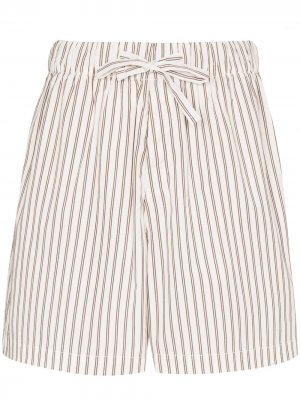 Пижамные шорты в полоску TEKLA. Цвет: белый