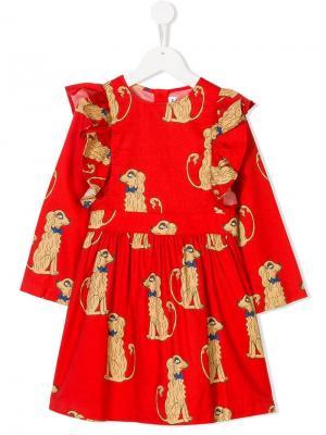 Spaniels print ruffled dress Mini Rodini. Цвет: красный