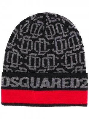 Шапка бини с логотипом Dsquared2. Цвет: черный