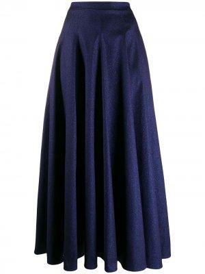 Блестящая юбка макси Talbot Runhof. Цвет: синий