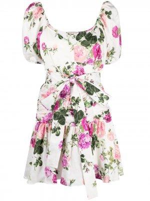 Платье с завязками и цветочным принтом LoveShackFancy. Цвет: белый
