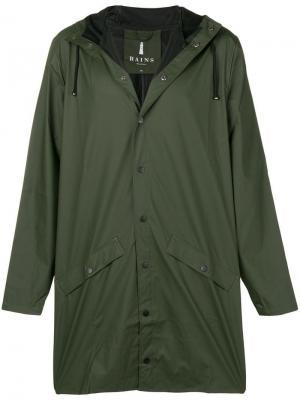 Water-resistant hooded coat Rains. Цвет: зеленый