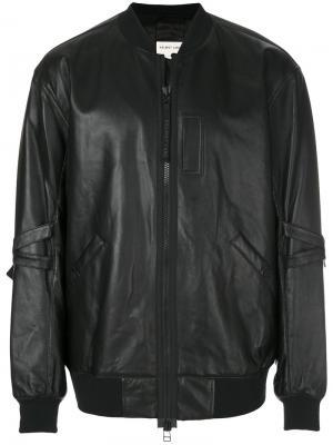 Кожаная куртка-бомбер Helmut Lang. Цвет: black