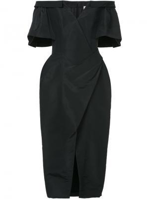 Платье с открытыми плечами и сборками Carolina Herrera. Цвет: черный