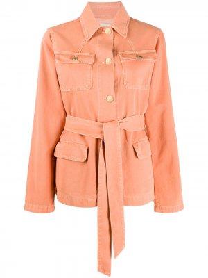 Джинсовая куртка Fontana с поясом Temperley London. Цвет: оранжевый