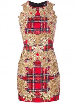 Коктейльное платье с пайетками Balmain. Цвет: красный