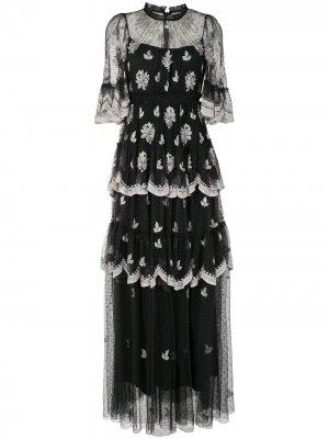 Ярусное платье с цветочным кружевом Needle & Thread. Цвет: черный
