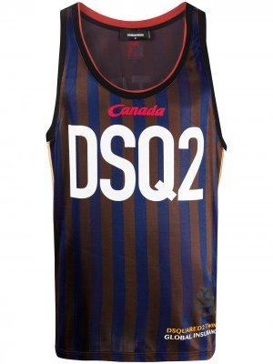 Полосатый топ без рукавов с логотипом Dsquared2. Цвет: коричневый