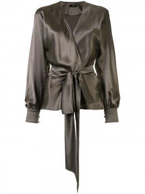 Блузка с запахом VOZ. Цвет: серый