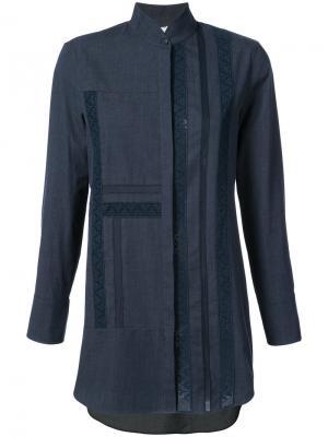 Джинсовая рубашка с высоким воротником Akris Punto. Цвет: синий